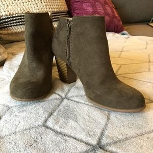 Olive Green Old Navy Heeled Booties